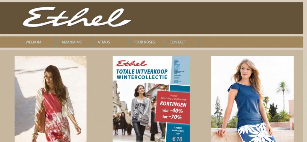 Mock up van website van dameswinkel ethel Izegem