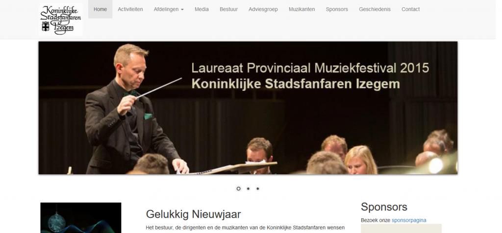 Mock up van de website van KSFI Izegem