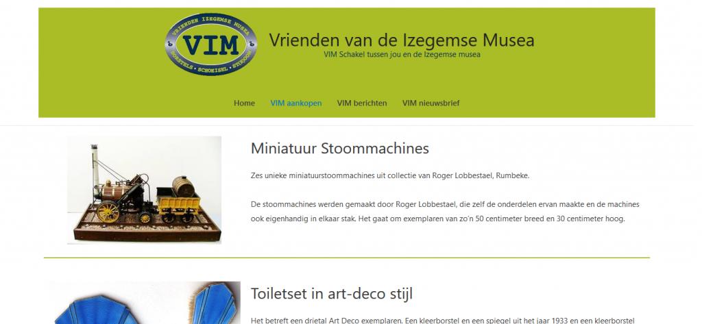 Mock up van de website van VIM Izegem