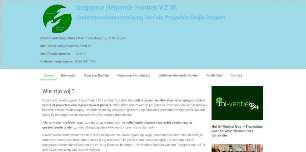 screenshot www.helpende-hand.be