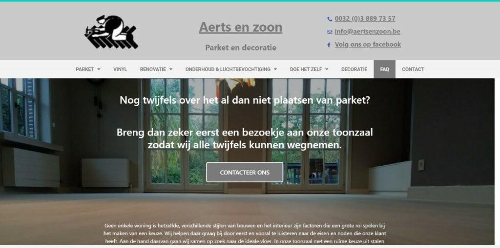 Schermafbeelding aertsenzoon.be